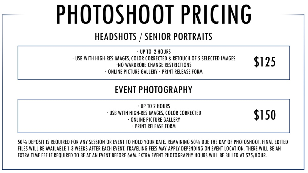 PHOTOG PRICES